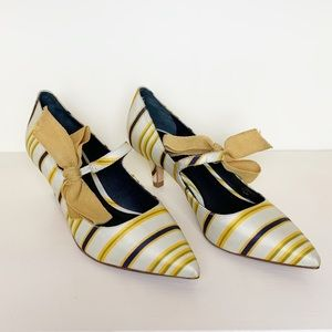 Tory Burch | Beverly Satin Striped Mary Jane Heels